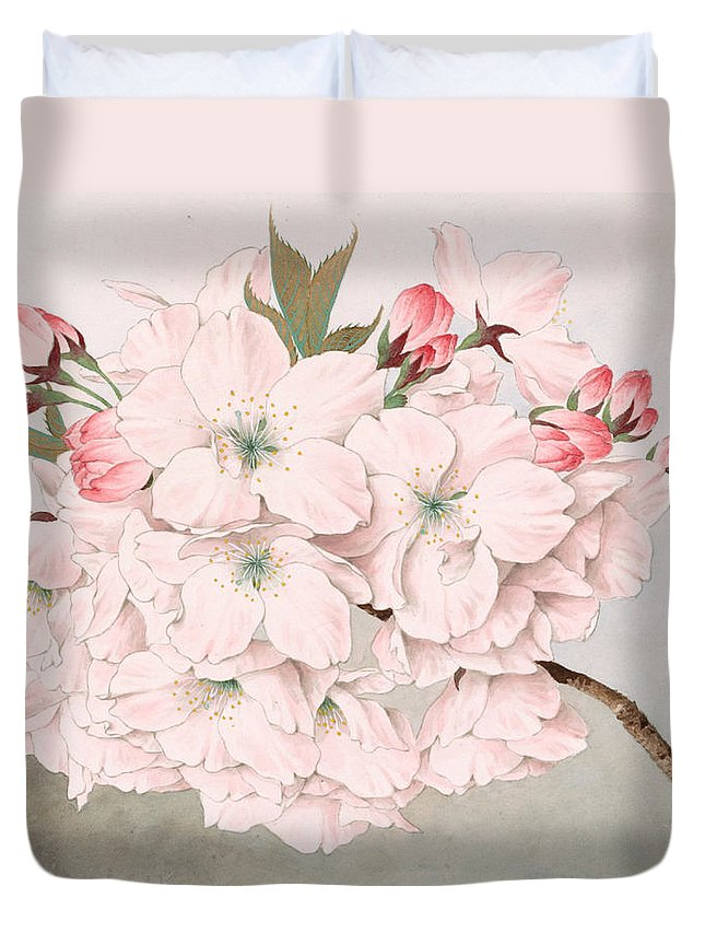 Japan Duvet Cover featuring the painting Mikuruma-gaeshi - Vintage Japanese Watercolor by Just Eclectic