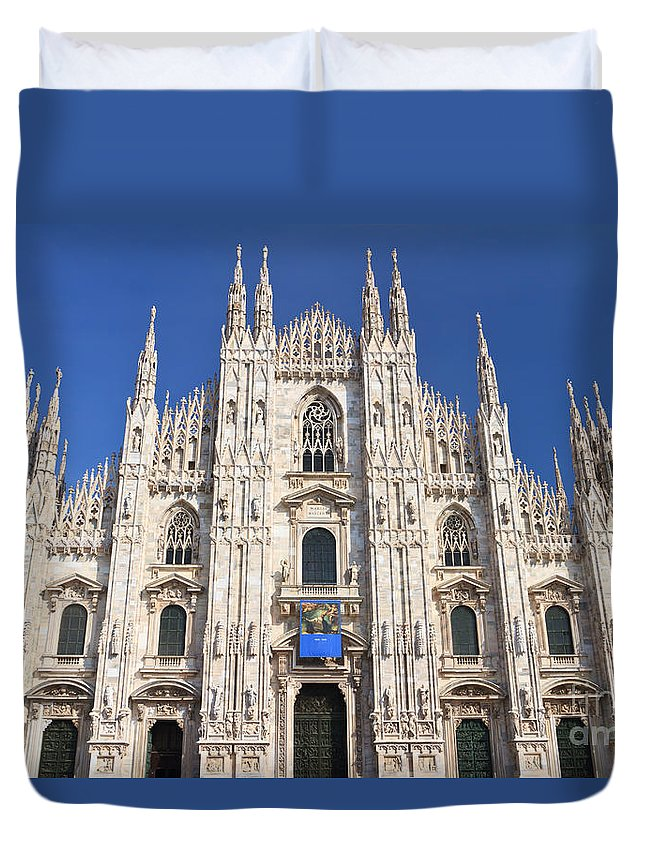 Ancient Duvet Cover featuring the photograph Milan Cathedral by Antonio Scarpi