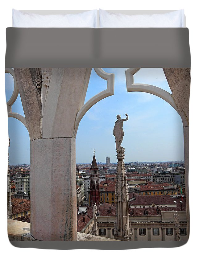 Italy Duvet Cover featuring the photograph Milan Cathedral Rooftop View by Susan Rovira