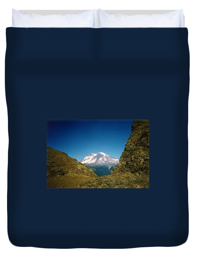 Mount Rainier Duvet Cover featuring the photograph Mile High by Loren McNamara