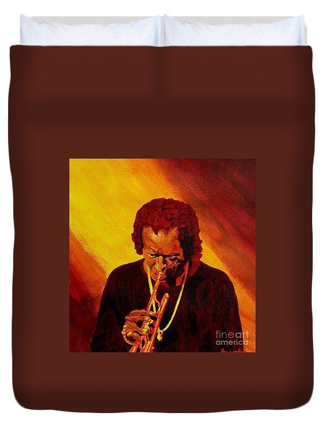 Miles Davis Duvet Cover featuring the painting Miles Davis Jazz Man by Anthony Dunphy