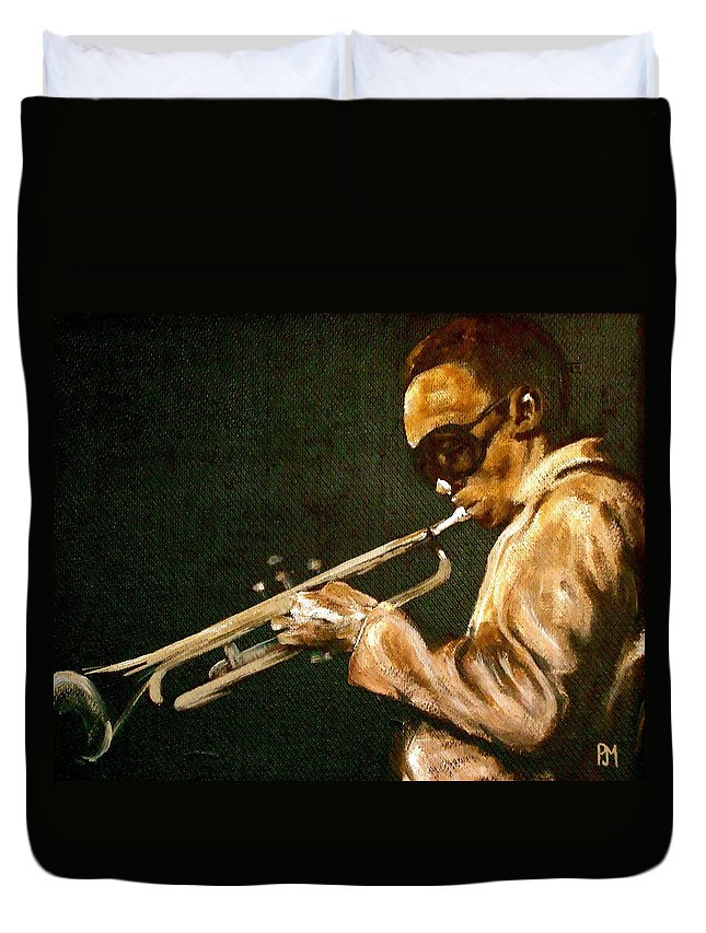 Miles Davis Duvet Cover featuring the painting Miles by Pete Maier