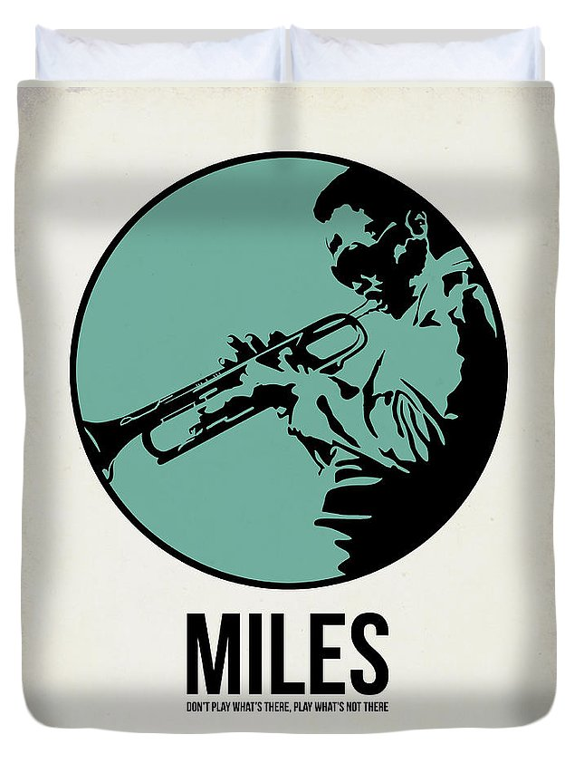 Music Duvet Cover featuring the digital art Miles Poster 1 by Naxart Studio
