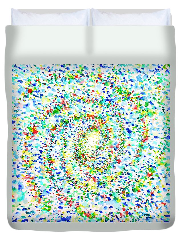Milky Duvet Cover featuring the painting Milky Way Galaxy - Watercolor Painting by Fabrizio Cassetta