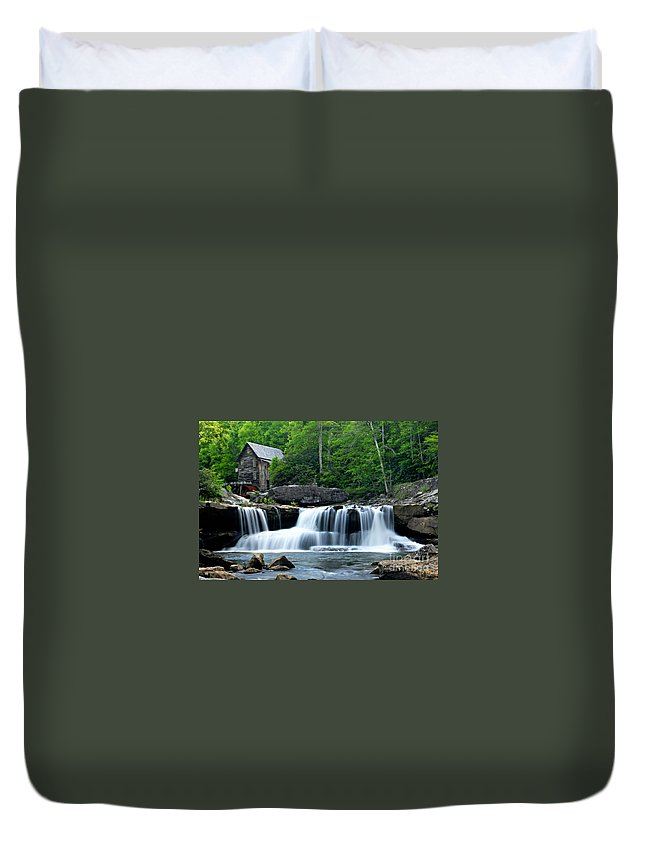 Photography Duvet Cover featuring the photograph Mill And Waterfall by Larry Ricker