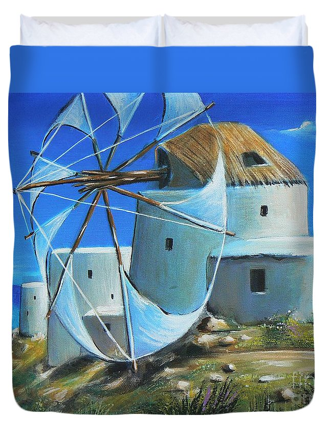 Blue Duvet Cover featuring the painting Mill On The Hill by Artist ForYou