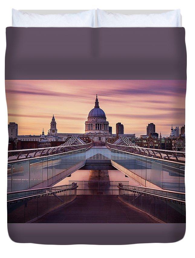 London Millennium Footbridge Duvet Cover featuring the photograph Millennium Bridge Leading Towards St by Roland Shainidze Photogaphy