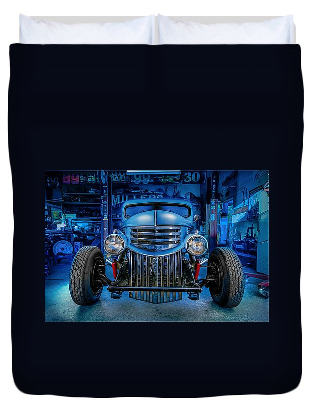 Antique Duvet Cover featuring the photograph Millers Chop Shop 1946 Chevy Truck by Yo Pedro