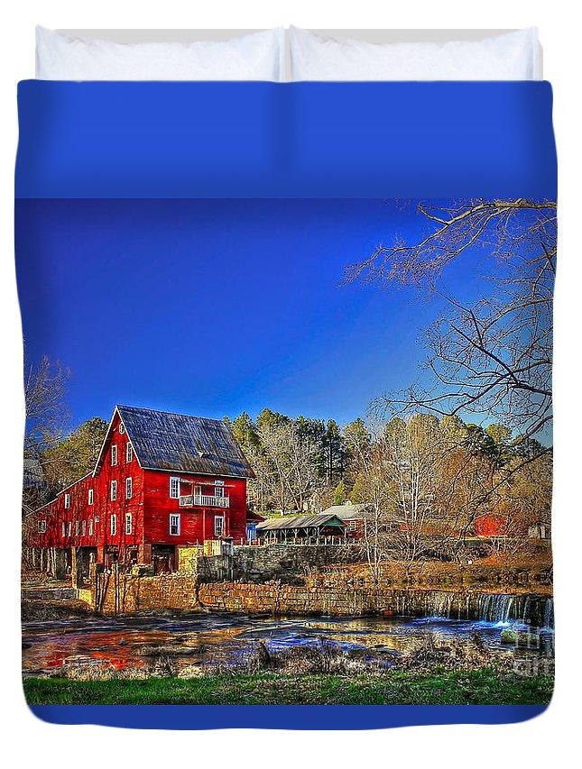 Reid Callaway Mill More Mill Duvet Cover featuring the photograph Historic Millmore Mill Shoulder Bone Creek by Reid Callaway