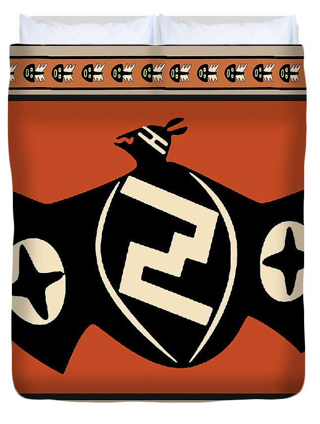 Killer Bats Duvet Cover featuring the digital art Mimbres Tribal Bat Spirit by Vagabond Folk Art - Virginia Vivier