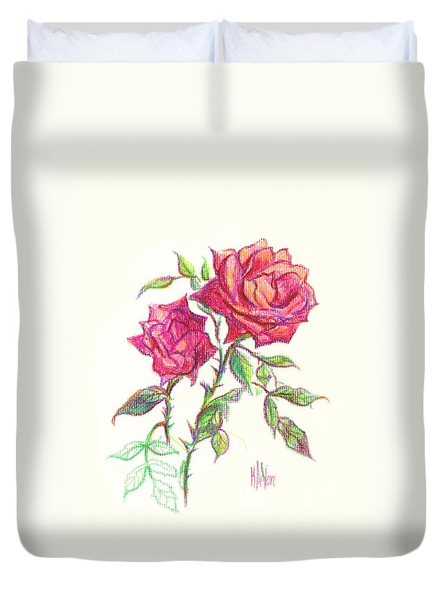 Nature Duvet Cover featuring the painting Minature Red Rose by Kip DeVore