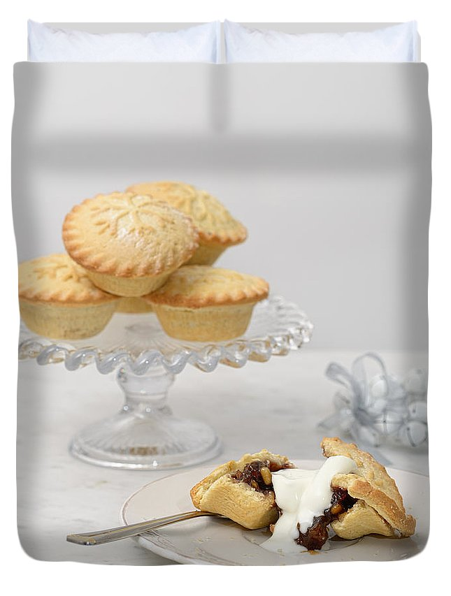 Christmas Duvet Cover featuring the photograph Mince Pies With Cream by Amanda Elwell