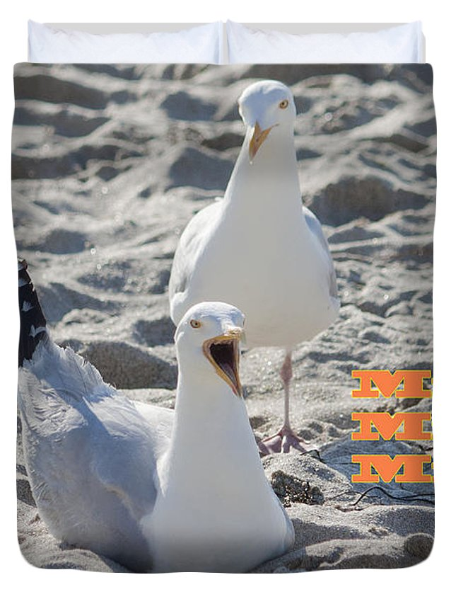 Gull Duvet Cover featuring the photograph Mine Mine Mine by Terri Waters