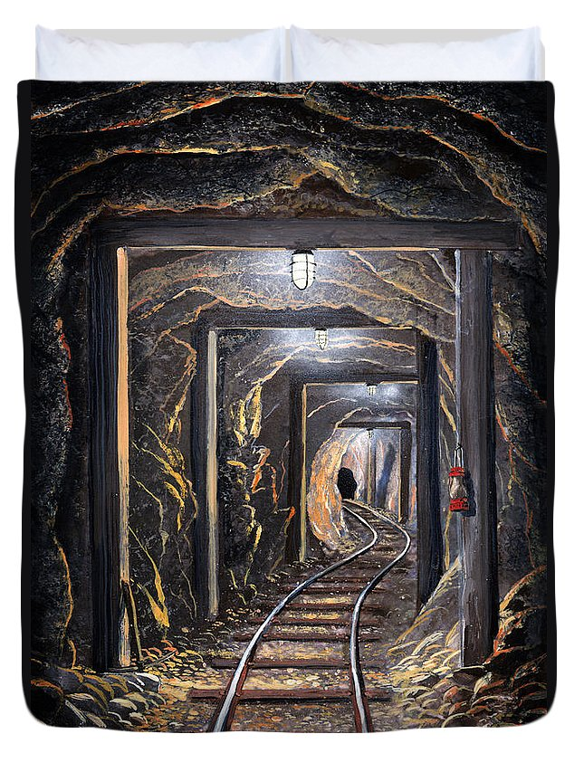 Mural Duvet Cover featuring the painting Mine Shaft Mural by Frank Wilson