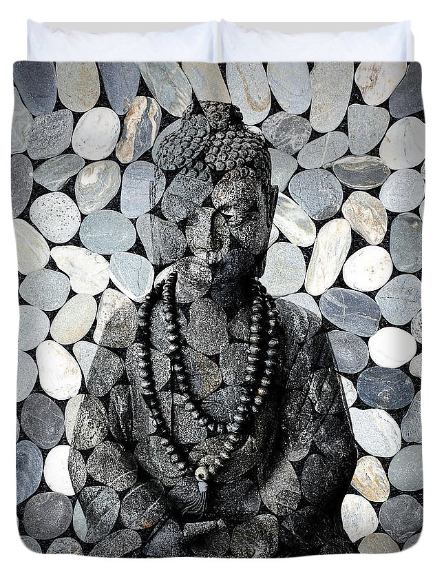 Buddha Duvet Cover featuring the photograph Mineral Buddha by Delphimages Photo Creations