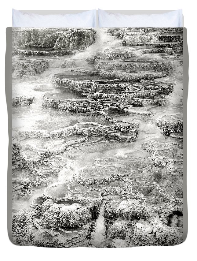 America Duvet Cover featuring the photograph Minerva Springs In Black And White Yellowstone National Park Wyoming by Dave Welling