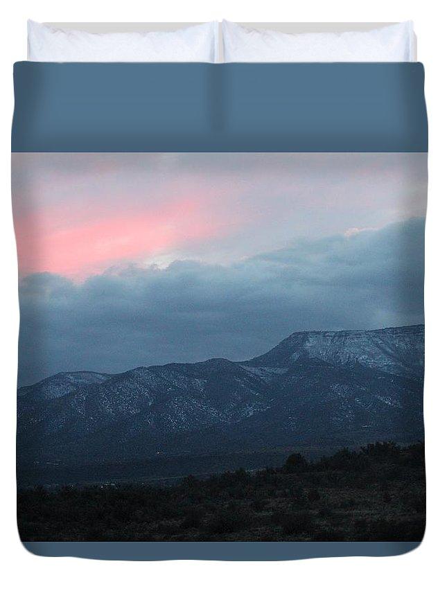 Mingus Duvet Cover featuring the photograph Mingus Mountain Sunset Dec 08 2013 E by Edward Dobosh