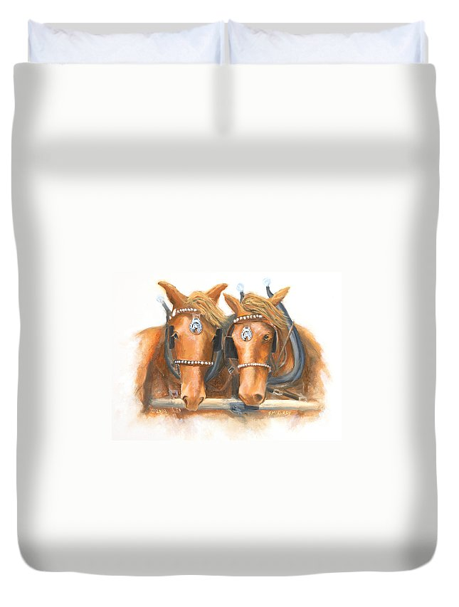 Horse Duvet Cover featuring the painting Mini And Jake by Jerry McElroy