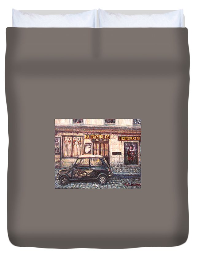 Quin Sweetman Duvet Cover featuring the painting Mini De Montmartre by Quin Sweetman