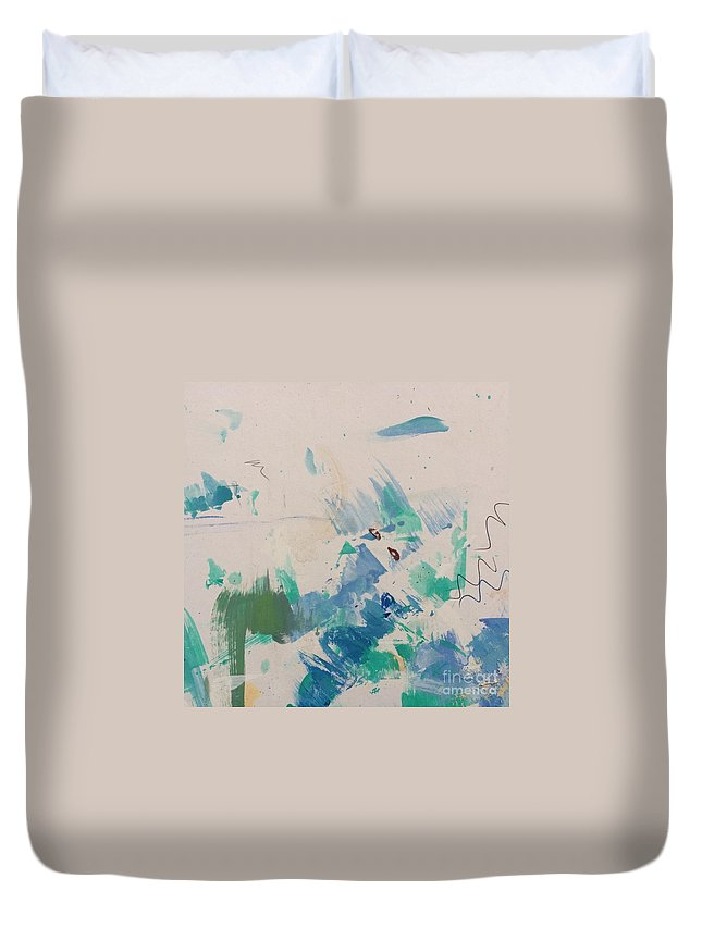 Acrylic Duvet Cover featuring the painting Minimal Blue by Robin Maria Pedrero