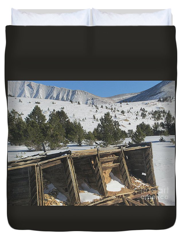 Snow Duvet Cover featuring the photograph Mining History by Tonya Hance