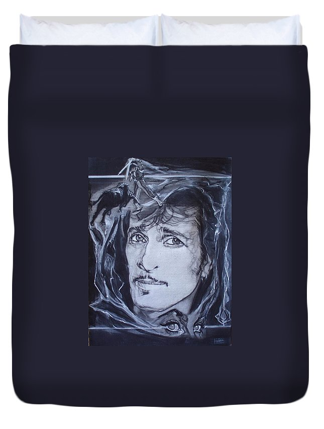 Charcoal;mink Deville;new York City;gina Lollabrigida Eyes ;cat Eyes;bullfight;toreador;swords;death;smoke;blues Duvet Cover featuring the drawing Willy Deville - Coup De Grace by Sean Connolly