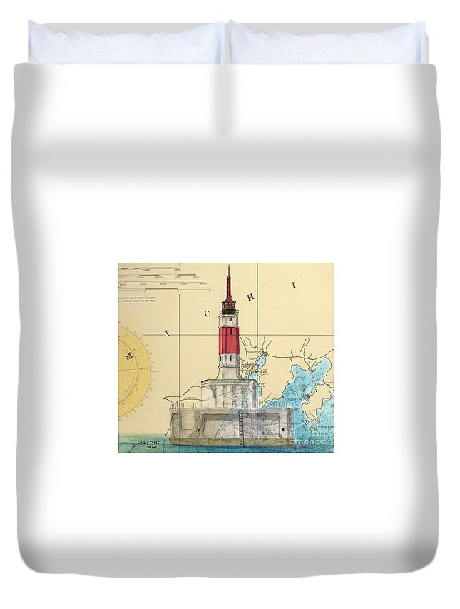 Minneapolis Duvet Cover featuring the painting Minneapolis Shoals Lighthouse Mi Nautical Chart Map Art by Cathy Peek