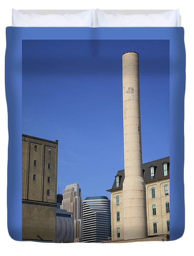 America Duvet Cover featuring the photograph Minneapolis Smokestack by Frank Romeo