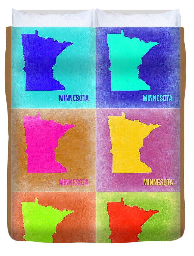 Minnesota Map Duvet Cover featuring the painting Minnesota Pop Art Map 2 by Naxart Studio