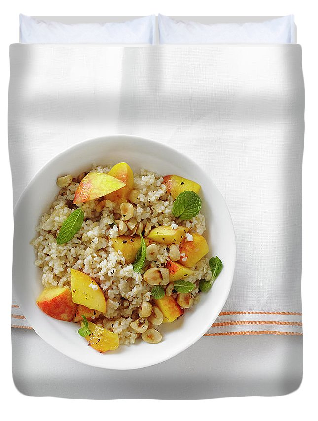 Temptation Duvet Cover featuring the photograph Minted Bulgur And Peach Salad by Iain Bagwell