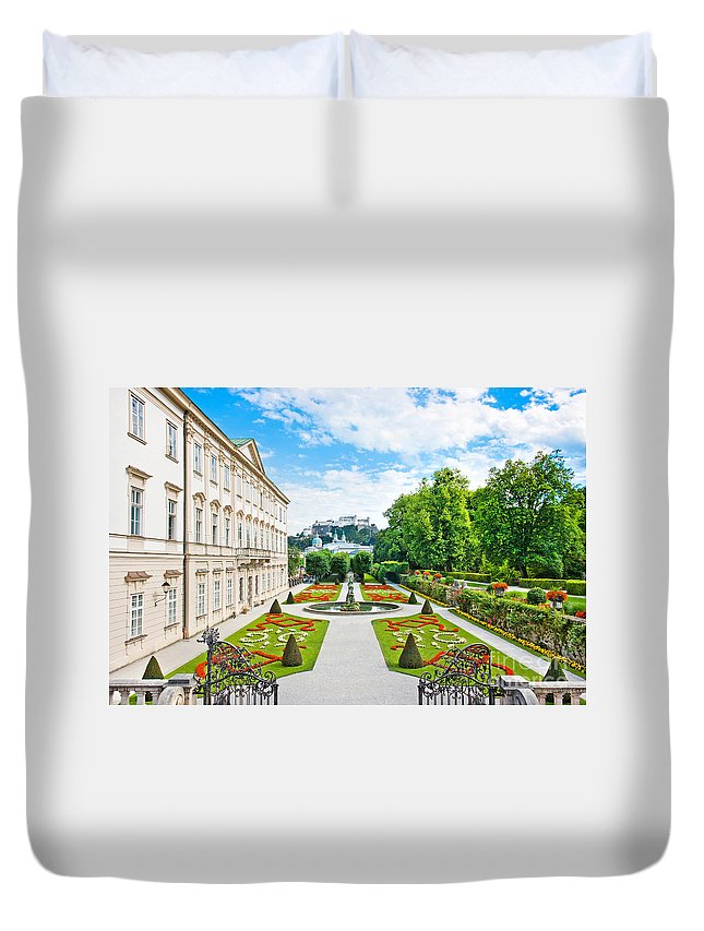 Salzburger Duvet Cover featuring the photograph Mirabell Gardens In Salzburg by JR Photography