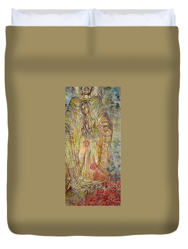 Virgin Duvet Cover featuring the painting Miracle Of A Virgin by Karina Llergo