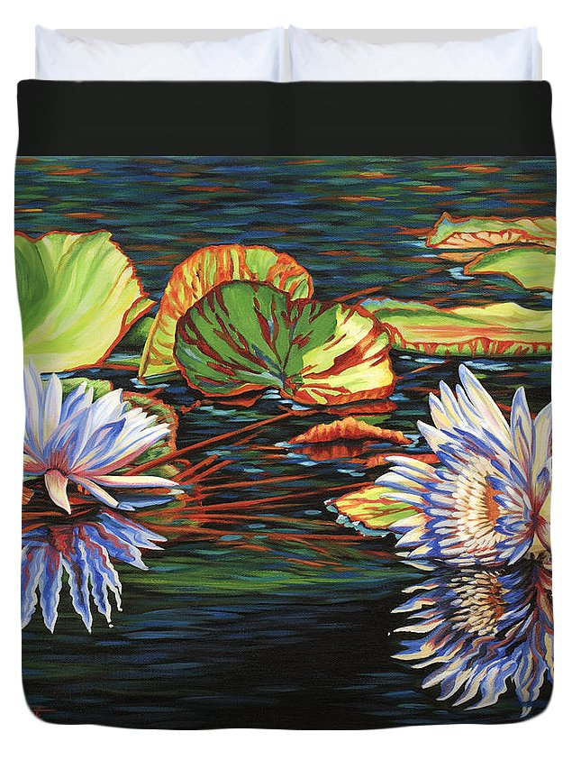 Lily Lilies Water Pond Pad Flower Flowers Floral Lake Duvet Cover featuring the painting Mirrored Lilies by Jane Girardot