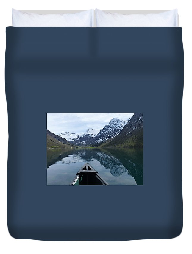 Duvet Cover featuring the photograph Mirrored Voyage by Katerina Naumenko