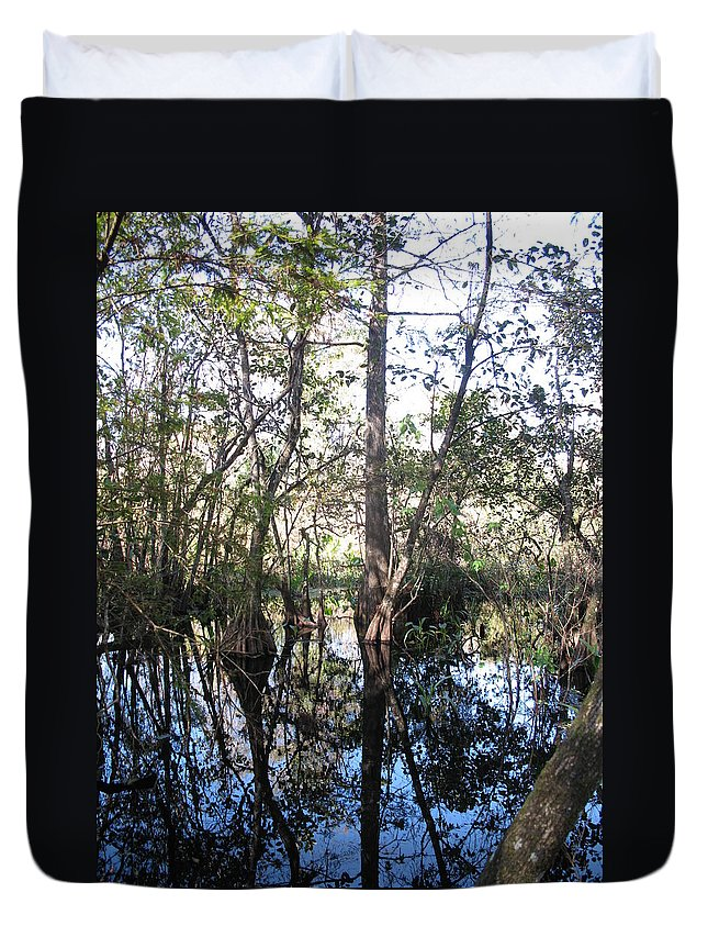 Swamp Duvet Cover featuring the photograph Mirroring The Swamp by Christiane Schulze Art And Photography