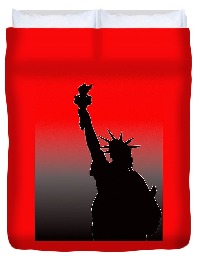 New York Duvet Cover featuring the photograph Miss Liberty Abstract by Jeff Watts