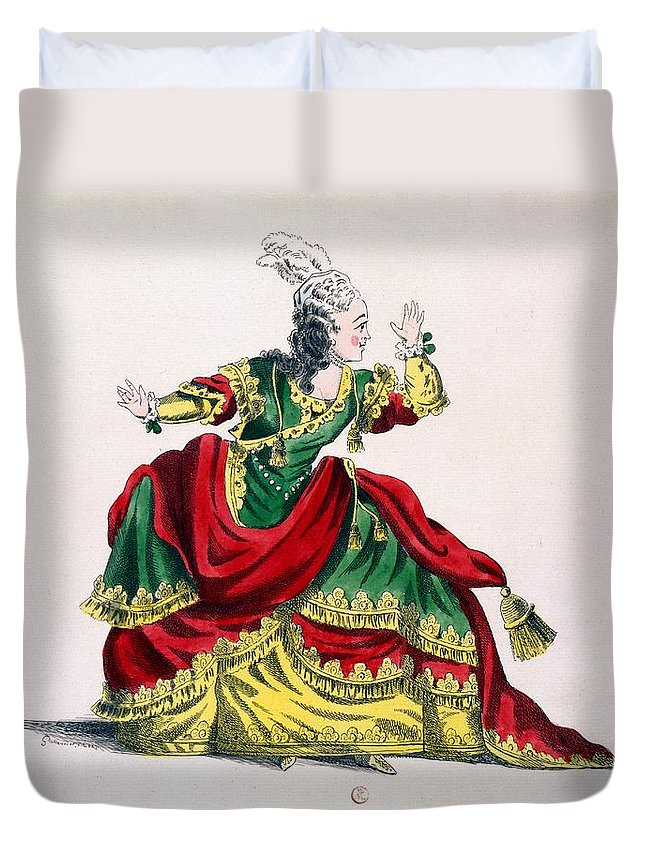 Miss Sainval Duvet Cover featuring the drawing Miss Sainval As Zenobie In Zenobie by French School