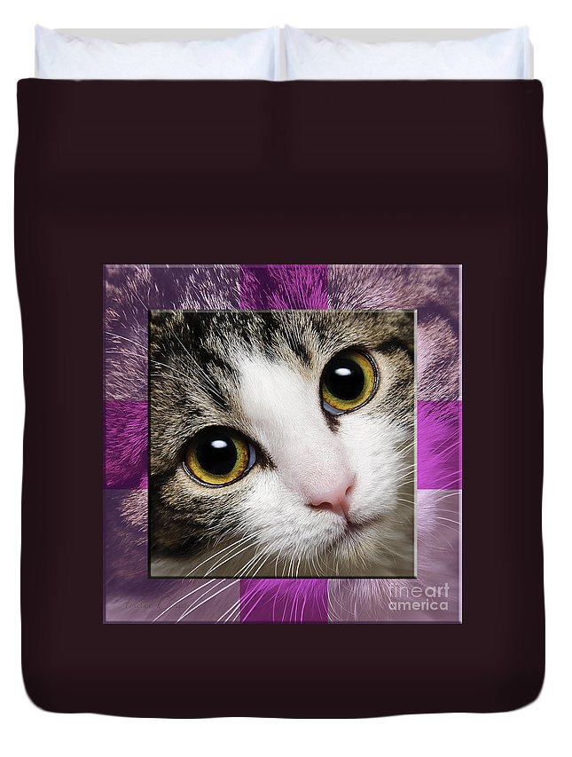 Abstract Duvet Cover featuring the photograph Miss Tilly The Gift 2 by Andee Design