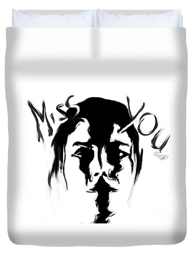 Miss You Duvet Cover featuring the painting Missing You by Thomas Oliver