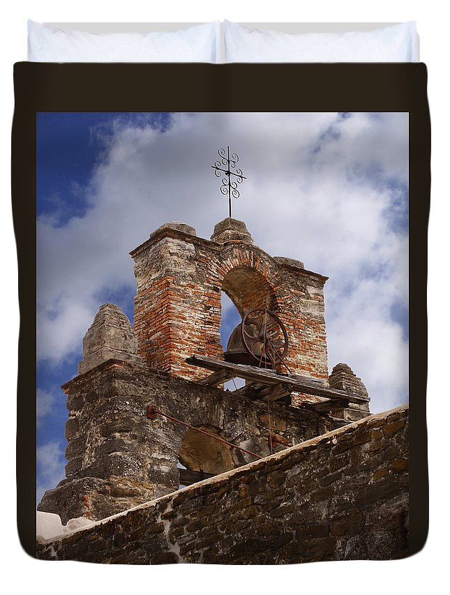 Mission Duvet Cover featuring the photograph Mission Espada Bell by David and Carol Kelly
