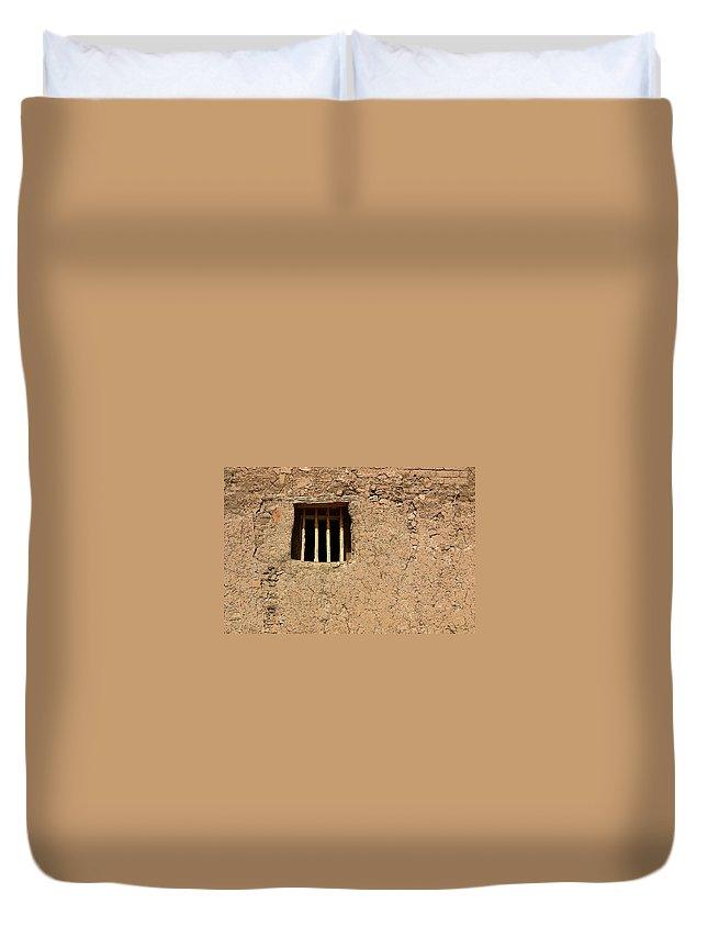 Adobe Duvet Cover featuring the photograph Mission Church Window by Joe Kozlowski