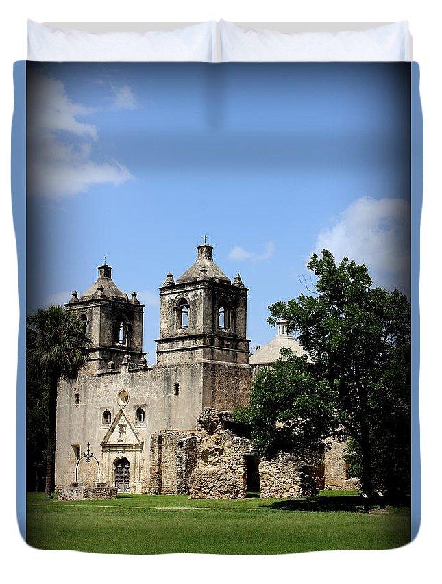 Mission Concepcion Duvet Cover featuring the photograph Mission Concepcion - Church by Beth Vincent