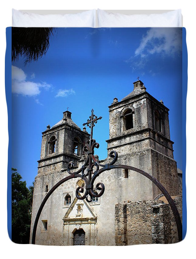 Mission Concepcion Duvet Cover featuring the photograph Mission Concepcion - Church II by Beth Vincent