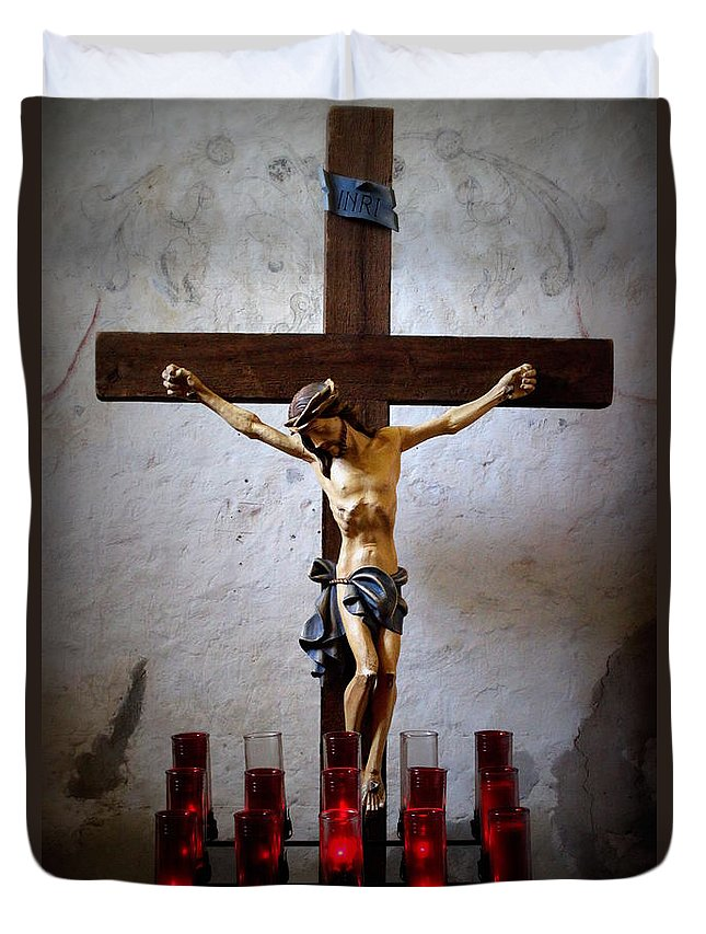 Mission Concepcion Duvet Cover featuring the photograph Mission Concepcion - Crucifixion by Beth Vincent