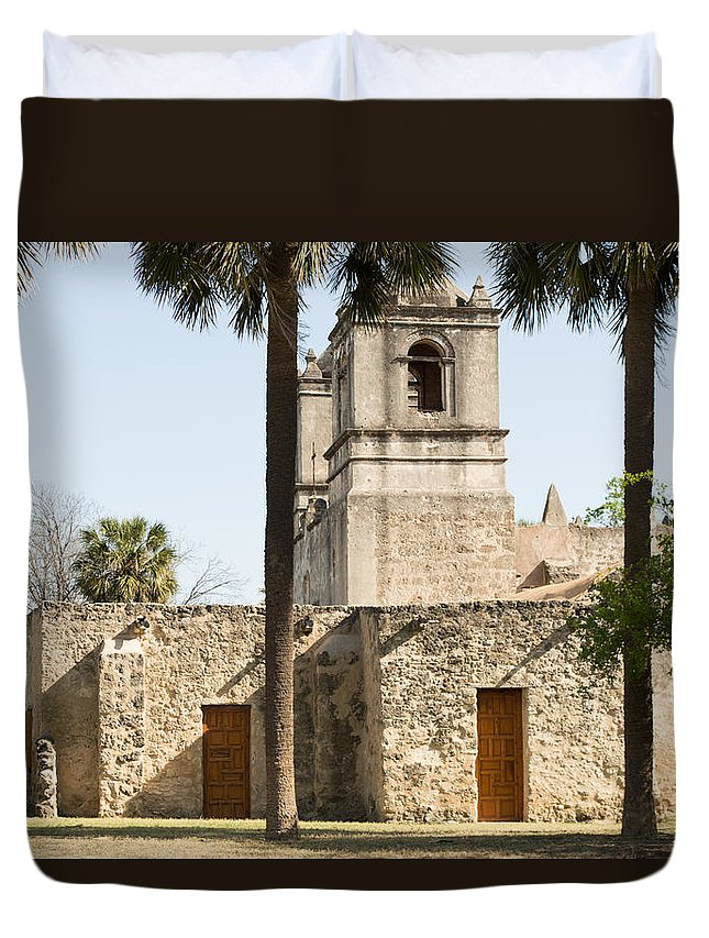 Texas Duvet Cover featuring the photograph Mission Concepcion In San Antonio by JG Thompson