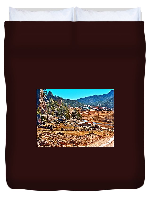 Mission Cusarare Tarahumara Village In Chihuahua Duvet Cover featuring the photograph Mission Cusarare Tarahumara Village In Chihuahua-mexico by Ruth Hager