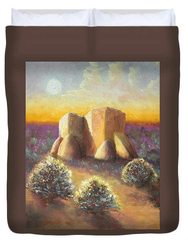Landscape Duvet Cover featuring the painting Mission Imagined by Jerry McElroy