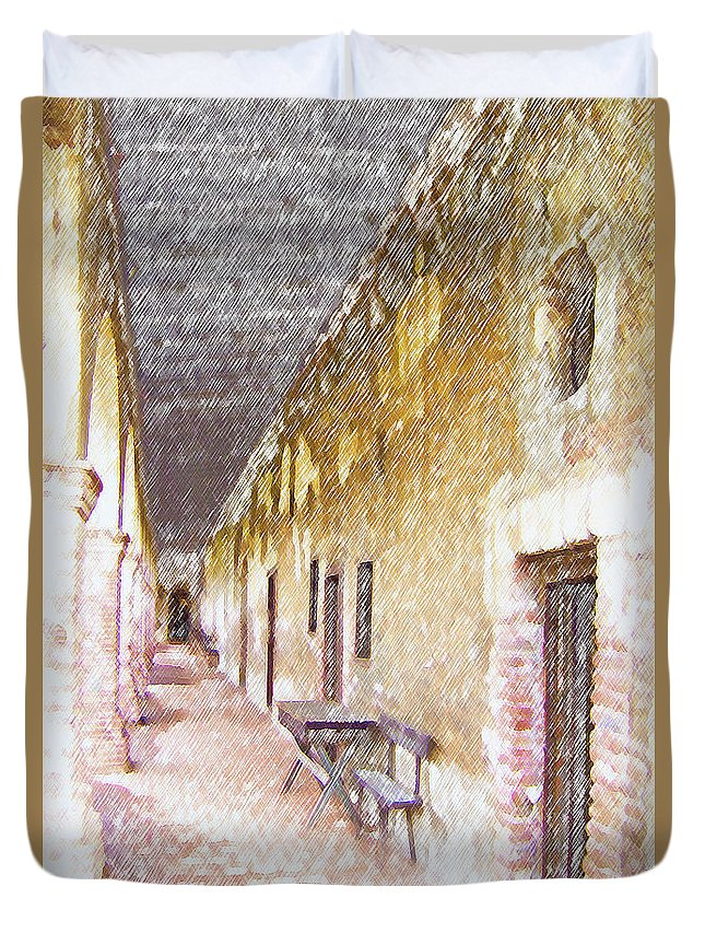 Architecture Duvet Cover featuring the photograph Mission San Juan Capistrano No 5 by Ben and Raisa Gertsberg