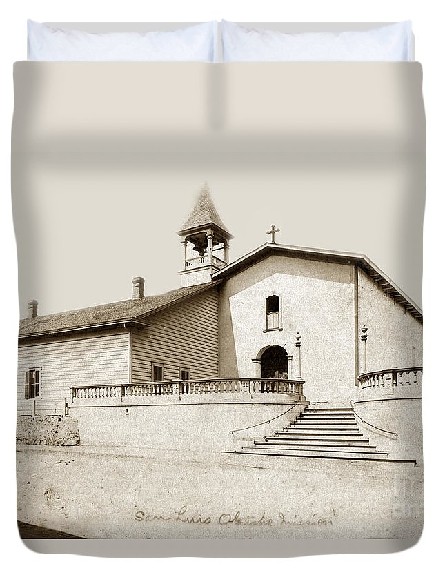 Mission Duvet Cover featuring the photograph Mission San Luis Obispo Circa 1890 by California Views Mr Pat Hathaway Archives