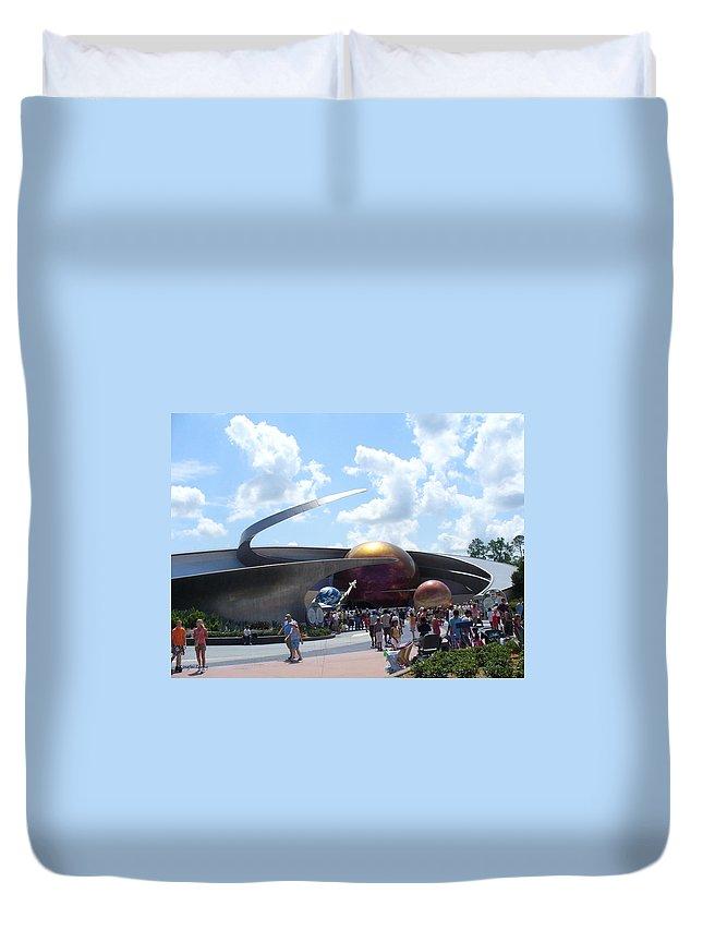 Epcot Centre Theme Park Duvet Cover featuring the photograph Mission Space Pavilion by Lingfai Leung